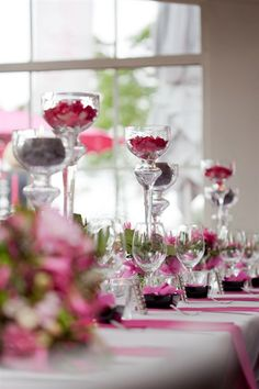 table in fuchsia, black and white