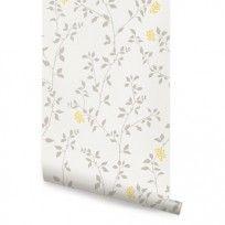 Light Grey/Yellow Branch Flower Wallpaper #simpleshapes