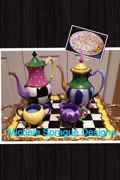 Painted Tea Set // Painted Silver Tea Set // Whimsical Painted Tea Set // Custom Painted Tea Set hand painted home decor Whimsical Painted Furniture, Hand Painted Furniture, Reuse Furniture, Mackenzie Childs Inspired, Mckenzie And Childs, Silver Tea Set, Upcycled Home Decor, Tea Service, Chocolate Pots