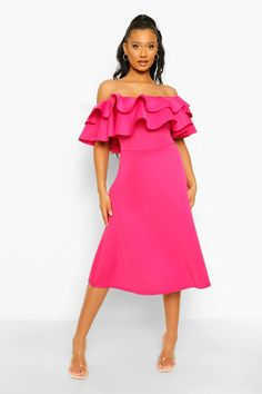 Bonded Scuba Off The Shoulder Frill Sleeve Midaxi Dress | boohoo Cheap Dresses, Dresses For Sale, Prom Dresses, Skater Dresses, Maxis, Pink Dress, Dress Up, Off The Shoulder, Cold Shoulder Dress