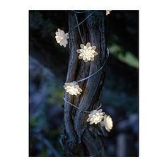 Flower lights. IKEA. SOLVINDEN  Solcelledrevet lyskæde, 12 blomster, hvid