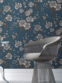 Kensington Floral Wallpaper by Graham Brown and Warren Platner Chair Wallpaper Stencil, Wall Wallpaper, Shades Of Turquoise, Teal, Aqua, Contemporary Wallpaper, Wall Treatments, Chair Design, Room Decor