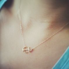 Sideways Gold Anchor Necklace - 14K Gold Filled Chain. $21.00, via Etsy.
