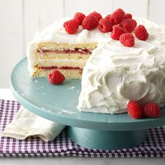 With raspberry preserves, a burst of lemon and a homemade buttercream frosting, this berry-topped cake always gets rave reviews. It's my mom's absolute favorite. —Lori Lee Daniels, Beverly, West Virginia Potluck Desserts, Dessert Recipes, Cupcake Recipes, Delicious Desserts, Potluck Recipes, Summer Desserts, Dessert Bars, Dessert Ideas, Cake Ideas