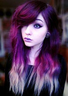 Red-blonde dip dye, small braid classy eyeliner alternative fashion beauty