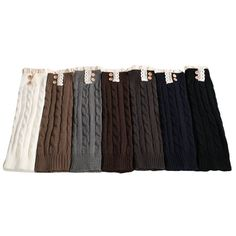 Fluorodine Women's Lace Trim Long Crochet Boot Cuffs Winter Knit Leg Warmers Multi Pack of 7. Pack of 7 pairs,in color white,coffee,grey,brown,dark grey,navy,black,as shown in the first picture. Material: Acrylic fibers. Imported. One size fits most,stretchy soft and fashionable. Machine washable for easy care. Wash in cold water on gentle cycle and lay flat to dry.