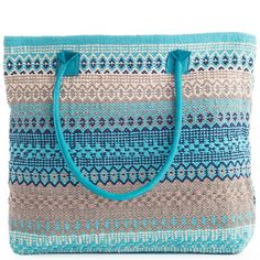 With vibrant turquoise stripes and suede leather handles juxtaposed against subtle greys and ivory, this woven cotton tote bag is a boho style dream. Fill it with your books, clothes, or groceries, and take this carryall tote to all your favorite destinations.