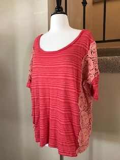 WE THE FREE  FREE PEOPLE   Battenburg Stripe Tee Crochet Coral Boxy Top XL  | eBay