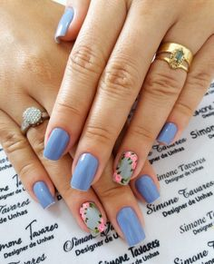 100 Fotos de Unhas decoradas Românticas Flower Nail Designs, Flower Nails, Nail Art, Makeup, How To Make, Pedicures, Beauty, Wallpaper, Perfect Nails