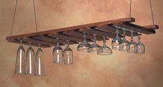 American Metalcraft Hanging Glass Rack (gr1435), Wood, Walnut Stain