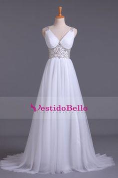 2016 V-cuello vestidos de novia de una línea con barrido rebordear de Tulle del tren US$ 199.99 VTOP5M21QBD - vestidobello.com