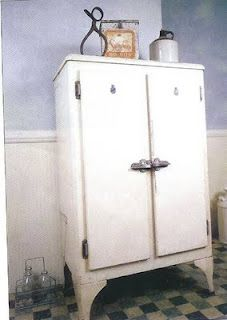 1930 refrigerator....  i have one of these in my living room... filled with vcr tapes... and it's blue! Love it!