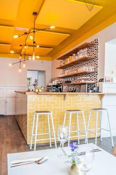 Syr in Utrecht Restaurant Interior Design, Bathroom Interior Design, Interior Ideas, Beautiful Kitchens, Cool Kitchens, Yellow Restaurant, Small Cafe Design, Cafe Concept, Yellow Interior