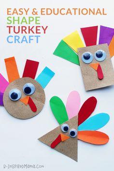 Super-Cute Shape Turkey Craft for Preschoolers!