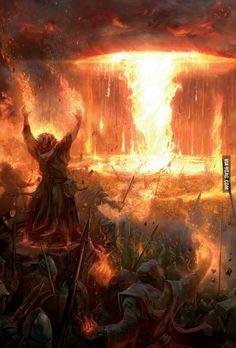 Magos, fogo, muito fogo, destruição