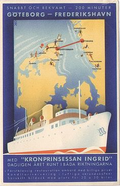 göteborg - frederikshavn ferry  Fast and comfortable - 200 minutes - Daily, All the year round in both directions ... [etc., etc.]  Postmark: Frederikshavn-Göteborg Kugleposten, 1 juli 1936  Post Card - Carte postale  Göteborg - Frederikshavn på 200 minuter (in 200 minutes)
