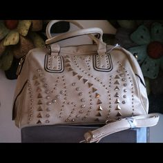 """Rhinestone and Stud Accented Satchel High quality faux leather with stud and rhinestone accents, zip top closure, adjustable shoulder strap, gold hardware, 15"""" x 9.75"""" x 6.25"""" Bags Satchels"""