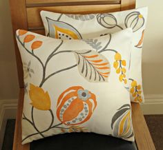 Pillows orange yellow flower seeds leaves cushion covers decorative pillows Two 16 x  rustic