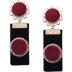 Vintage Rhinestoned Velvet Round Flower Earrings Red (14 RON) ❤ liked on Polyvore featuring jewelry, earrings, zaful, red flower earrings, rhinestone earrings, vintage red earrings, rhinestone jewelry and vintage flower earrings