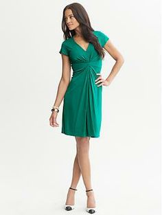 Issa Collection Short-Sleeve Pleated Dress, Banana Republic, bright green, $130 (30% off)