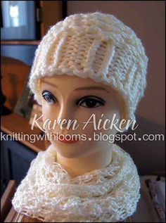 Lovely loom knitted hat ♥LLKW♥ with pattern, read carefully to find link. --- Knitting With Looms: Loom Knitting