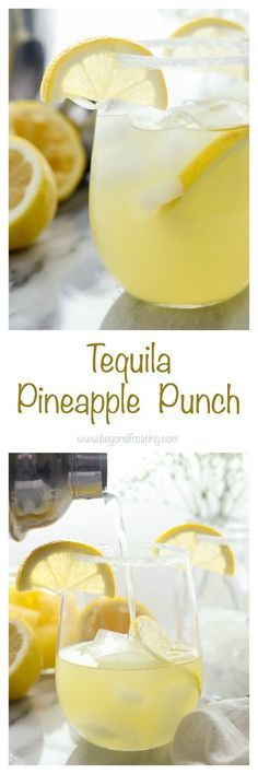 This Tequila Pineapple Punch is made with tequila, coconut rum, pineapple juice a splash of lemon juice and a little seltzer to top it off. It's the perfect balance of sweet verse tart. {wine glass writer} (drinks with rum alcoholic) Party Drinks, Fun Drinks, Yummy Drinks, Yummy Food, Tequila Drinks, Non Alcoholic Drinks, Tequila Punch, Drinks Alcohol, Cocktail Tequila