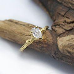 Pear Twig Engagement Ring - 14k yellow gold - Women organic wedding band. $1,265.00, via Etsy.