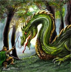 A painting of the dragon Chrysophylax Dives from Farmer Giles of Ham by JRR Tolkien