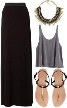 Descolado moda maxi skirt black, fashion e maxi skirt outfits. Basic Fashion, Fashion Mode, Look Fashion, Womens Fashion, Fashion Trends, Fashion Ideas, Mode Outfits, Casual Outfits, Fashion Outfits