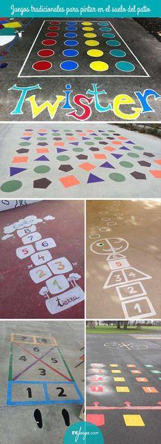 Juegos tradicionales para pintar en el suelo del patio del colegio