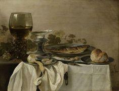 Pieter Claesz. | Still Life with a Fish, Pieter Claesz., 1647 | Stilleven met vis, brood en een geschilde citroen op tinnen borden. Rechts een roemer met wijn, een zoutvat met een schotel peperkorrels en druiven. Tussen de borden liggen enkele noten en een mes.