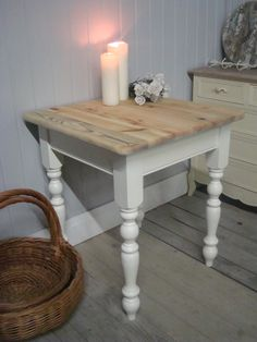 Pine Painted Farrow U0026 Ball White Shabby Chic Side/End/Lamp/Hall/