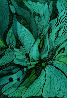 Green and turquoise watercolor and ink flower doodle drawing by zzen on DeviantART Art And Illustration, Illustrations, Guache, Alcohol Ink Art, Art Design, Motif Design, Graphic Design, Watercolor And Ink, Plants Watercolor