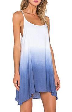 aa6eb8b6bd1 Urban CoCo Women s Sexy Summer Harness Gradient Tunic Dress (M