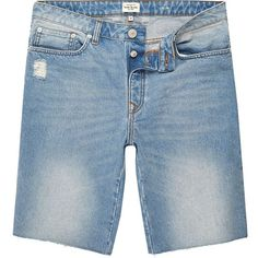 River Island Light blue wash frayed denim shorts ($20) ❤ liked on Polyvore featuring men's fashion, men's clothing, men's shorts, sale, mens denim shorts, mens jean shorts, mens frayed shorts, slim fit mens clothing and mens slim fit shorts