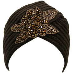 Brown Winter Knit Turban Beanie With Beaded Flower ($20) ❤ liked on Polyvore featuring accessories, hats, brown, knit beanie, brown beanie hat, knit turban hat, knit cap beanie and flower bead caps