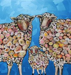 Sheep Family in Metallic Aqua Marine by Eli Halpin