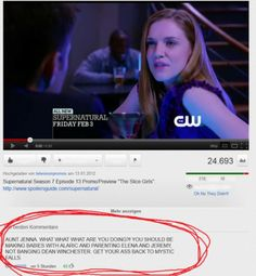 Lololol THAT'S AWESOME. Although Dean Winchester...Can't say I blame her. :)