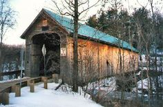 Hall Covered Bridge in Rockingham, Vermont. Photo from Vermont Covered Bridges Snowy Pictures, Old Bridges, Madison County, Old Barns, Covered Bridges, Amazing Nature, Great Photos, Vermont, Cabins
