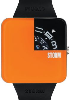 Storm Squarex Orange Watch - A cool new interpretation of the jump hour from Storm. The Squarex features a thick raised crystal above the recessed rotating dials instead of hands in a stainless steel boxed case.. Each disc lines up to give you the time, this time in the upper corner (seconds is displayed by a perpetually spinning array of colored stripes). With black signed silicon strap. Simple, stylish and Stormy! Cool Watches from Watchismo.com