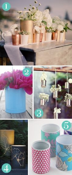 Oh So Lovely Blog - Love the copper/gold tin can centerpiece