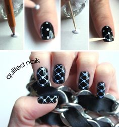 Quilted Polka Dot Nails | Grab you favorite nail polish, let it dry. Then with a tooth pick or dotting tool make the dots and connecting lines.