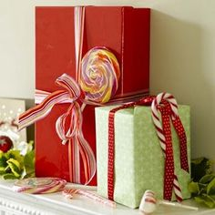 christmas wrapping with candy cane