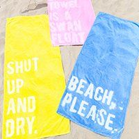 Make your own graphic beach towels using bleach!