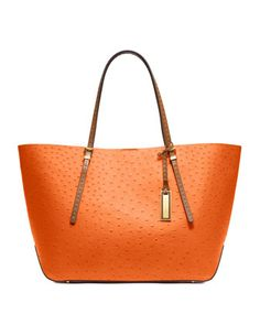 Orange the New Neutral - Michael Kors Gia Pebbled Tote - Neiman Marcus Michael Kors Factory Outlet, Michael Kors Handbags Outlet, Michael Kors Tote Bags, Handbags On Sale, Fashion Bags, Women's Fashion, Fashion Accessories, Michael Kors Sale, Gucci Purses