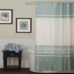 Shop for Lush Decor Concord Sea Green Shower Curtain. Get free delivery On EVERYTHING* Overstock - Your Online Shower Curtains & Accessories Store! Green Shower Curtains, Green Palette, Furniture Decor, Lush, New Homes, Elegant, Bathroom Ideas, Bedding, Decor Ideas