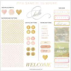 Like the look of the buttons with an Instagram like image, with type   Pink Sand Blog   Web kit, $45.00 by Dear Miss Modern