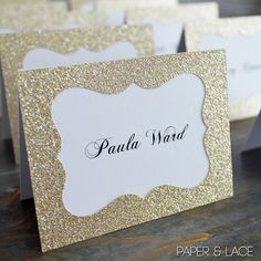 Gold Glitter Place Cards - Escort Card - Custom Placecard for Wedding, Sweet 16, Quincea�era, Bridal Showers - Gold Glitter Frame