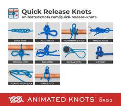 A selection of the commonly used Quick-Release Knots. The ability of these knots to grip securely is heavily dependent on the rope. When rope was mostly tarred hemp, they all gripped. Quick Release Knot, Splicing Rope, Animated Knots, Scout Knots, Bowline Knot, Strong Knots, Types Of Knots, Survival Knots, Best Knots