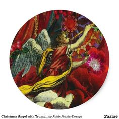 Christmas Angel with Trumpet Classic Round Sticker